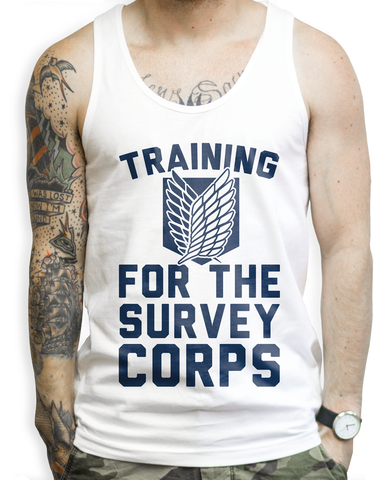 Training for the Survey Corps on a Unisex White Tank Top