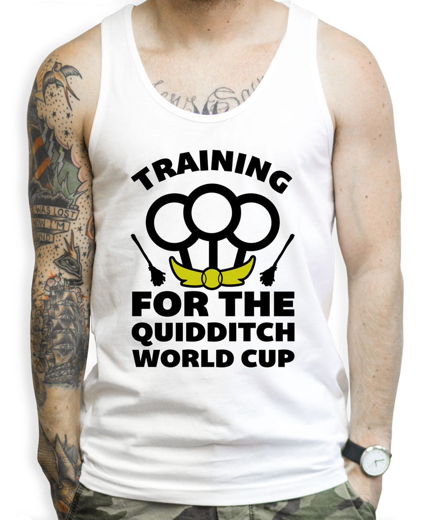 Training For The Quidditch World Cup on a White Tank Top