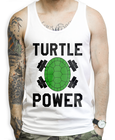 Turtle Power on a White Tank Top