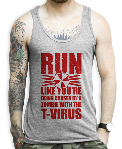 Run Like You're Being Chased By a Zombie with the T-Virus on a Unisex Athletic Grey Tank Top