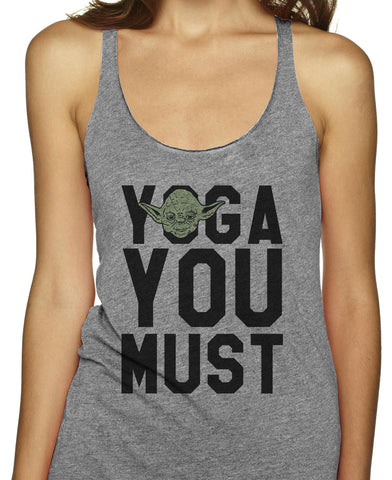 Yoga You Must on an Athletic Grey Racerback