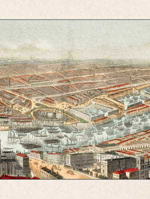 c.1845 Panoramic View of London and the River Thames
