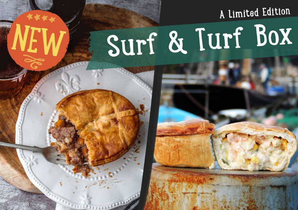 Chunk of Devon Surf and Turf Pie selection box. Fish pies and steak and ale pies