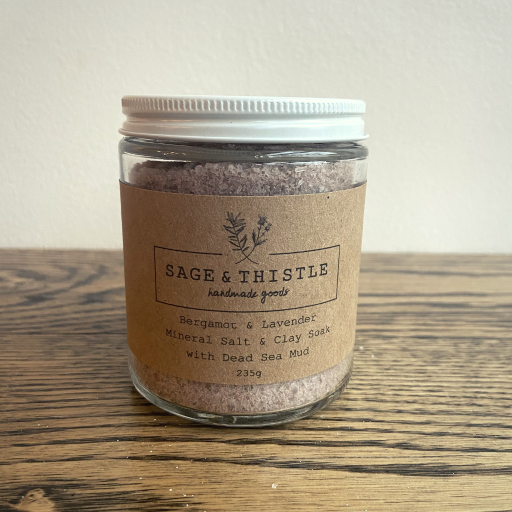 Sage & Thistle Bergamot & Lavender Mineral Salt Soak with Dead Sea Mud
