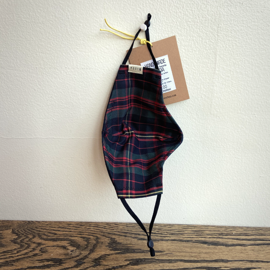 Billy Bamboo Mask (Dark Green Tartan Exterior & Red/Green Tartan Interior)