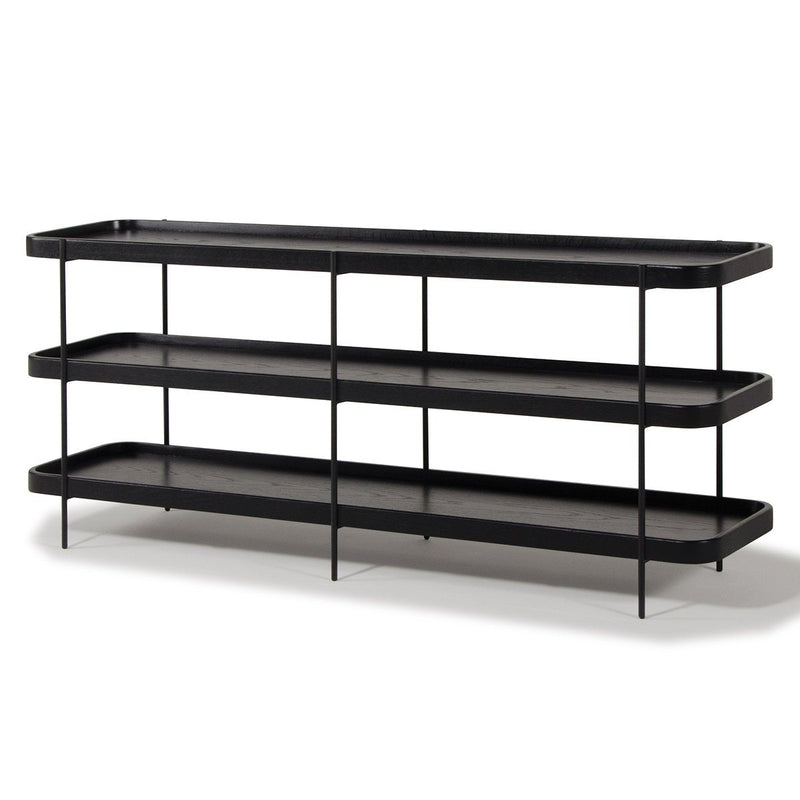 Idaho Black Oak 3 Shelf Unit Bookshelf Papaya