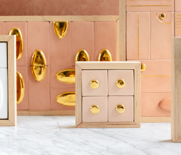Mini Wall Piece - Pink + Gold