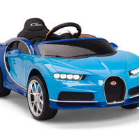 Two Tone Blue Toddler Bugatti Remote Control Ride On with Leather Seat