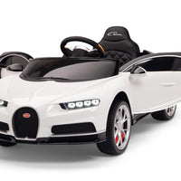 White Toddler Bugatti Remote Control Ride On with Leather Seat