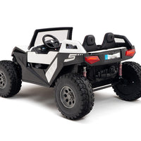 White Remote Control 24V Ride On Buggy with Rubber Tires