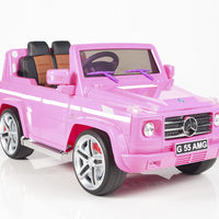 pink toddler mercedes g55 with leather seat remote and rubber tires