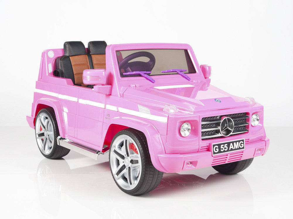 Pink Mercedes-Benz Big Remote Control Electric Ride On G55 AMG G Wagon For Kids W/Rubber Tires