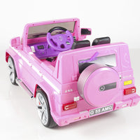 rear toddler mercedes g55 with leather seat remote and rubber tires