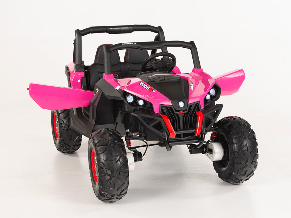 Pink Screamer Toddler Remote Control Ride On 2 Seat UTV W/4 Motors