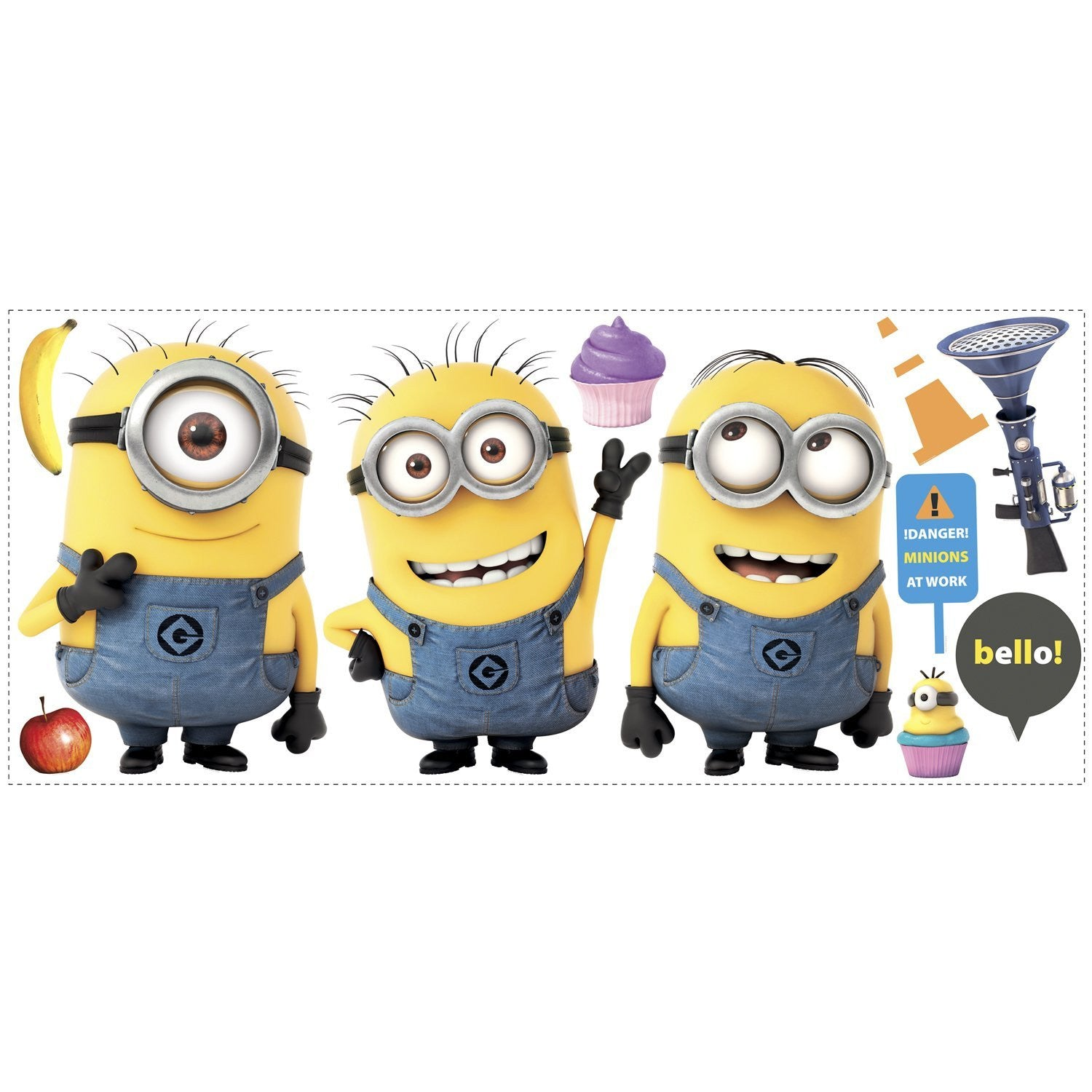 Despicable Me 2 Minions Giant Peel And Stick Decals – Car Tots ...