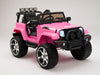 Pink Remote Control Ride On jeep with rubber tires for toddlers