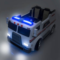 Big Rig Rescue 4WD Remote Control Ride On 2 Seat Police Truck With Rubber Tires
