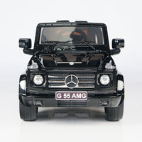 toddler mercedes g55 with leather seat remote and rubber tires in black