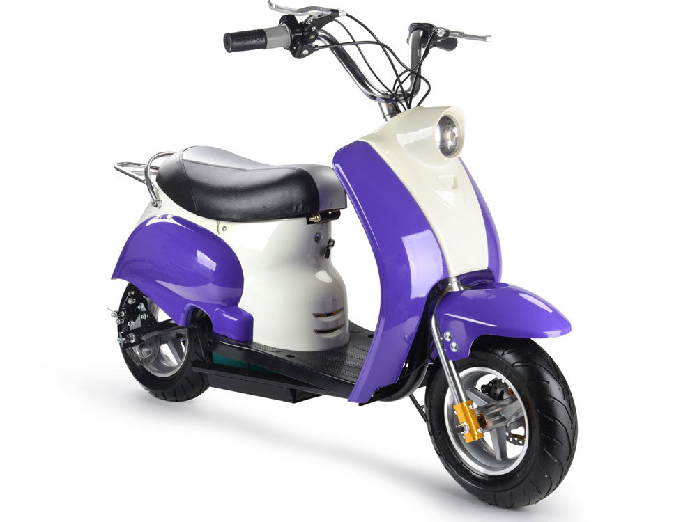 Electric 24 volt moped ride on scooter in purple car for What is a motor scooter