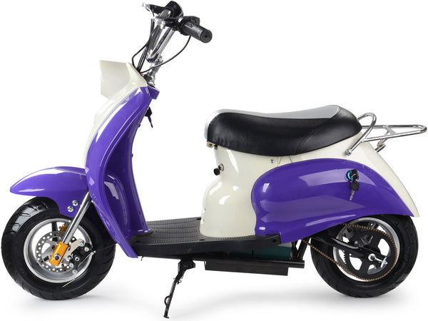 electric 24 volt moped ride on scooter in purple car tots remote control ride on cars trucks. Black Bedroom Furniture Sets. Home Design Ideas