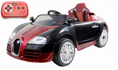 bugatti style remote control ride on car for toddlers in red