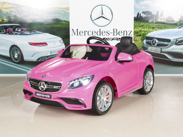 Amg mercedes s63 ride on coupe with remote control and for Pink mercedes benz power wheels
