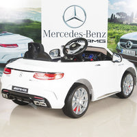 White AMG Mercedes S63 Remote Control Ride On Coupe With Rubber Tires for Toddlers