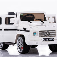 White Mercedes-Benz Remote Control Ride On G55 AMG G Wagon W/Rubber Tires and Opening Doors