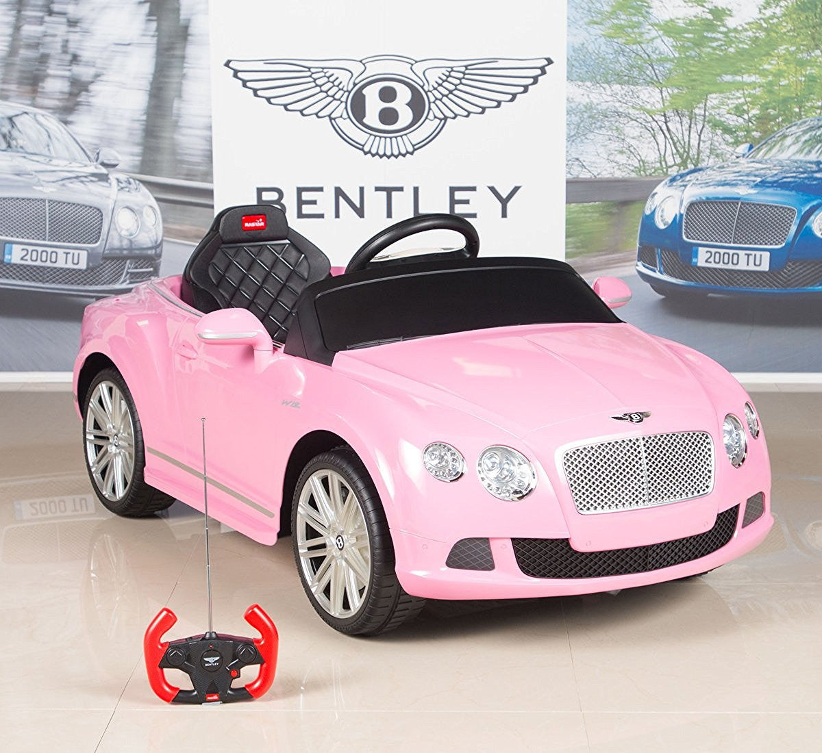 Pink New Licensed Bentley Continental 12v: Bentley Premium Remote Control Ride On Car With 12V Motor