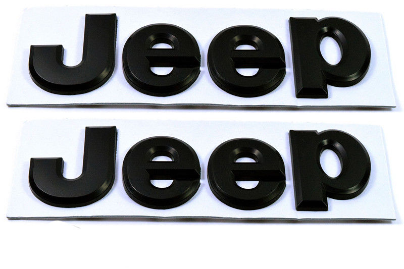 JEEP Hood Trunk Tailgate Emblem Logo Stickers Black 3D 2Pack