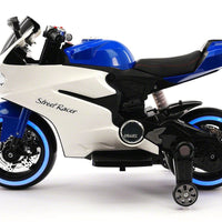Street Racer Electric Ride-On Motorcycle With Foam Rubber Tires and LED Wheels