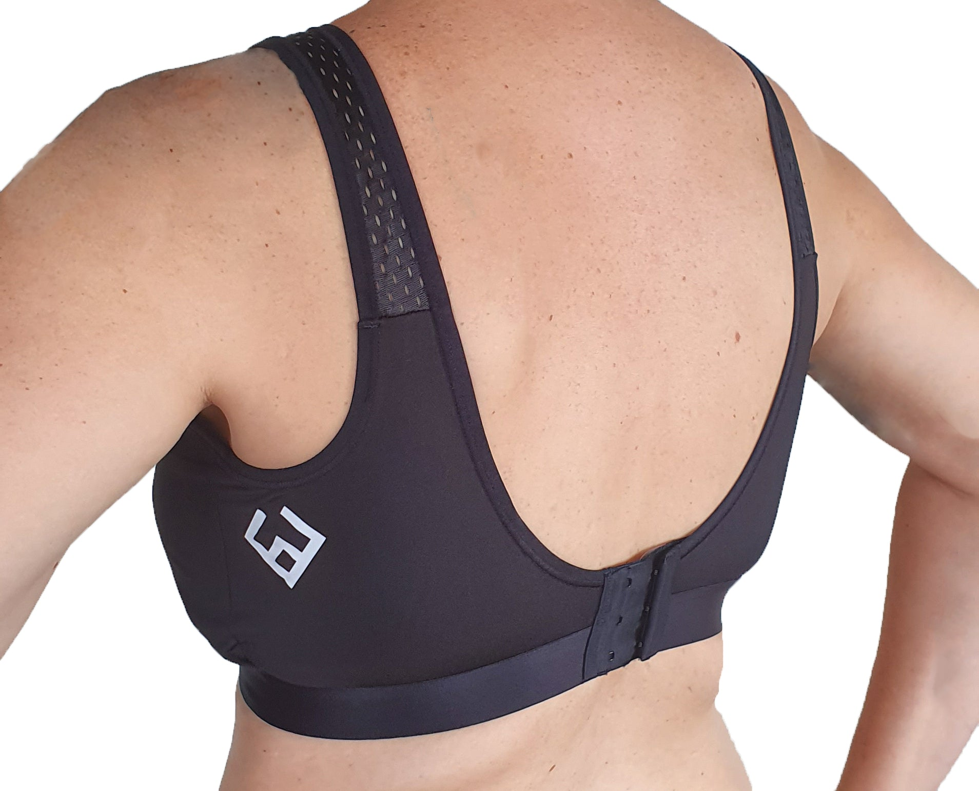 Images shows bra on a person. This is the XL bra size which has hook back fastening.