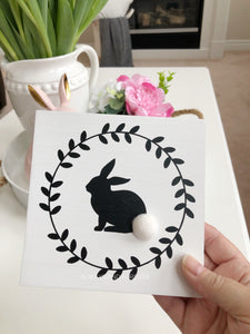 Wood Sign - Bunny with Wreath