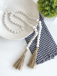 White Wood Beads with Tassels