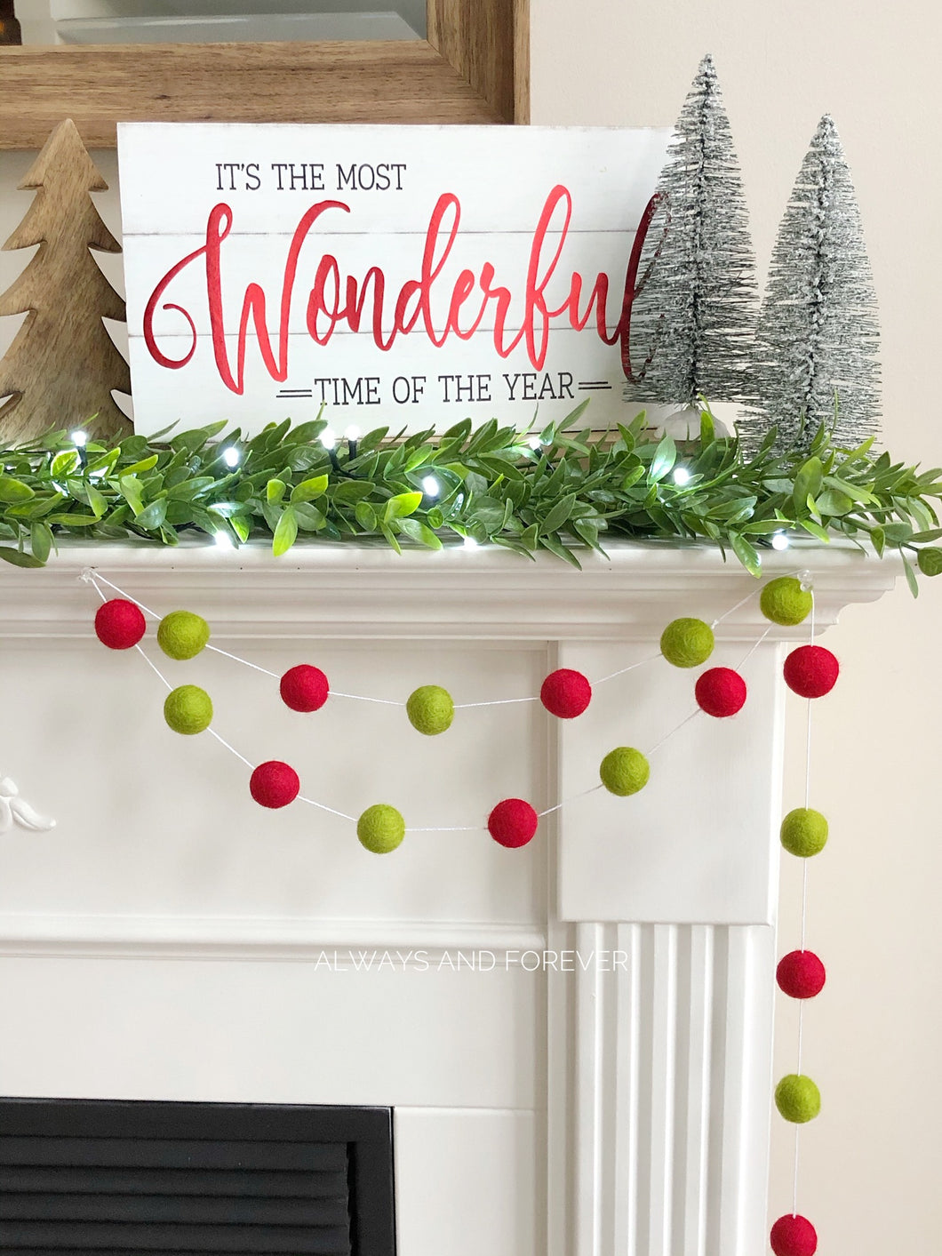 Holiday Garland - Red/Lime