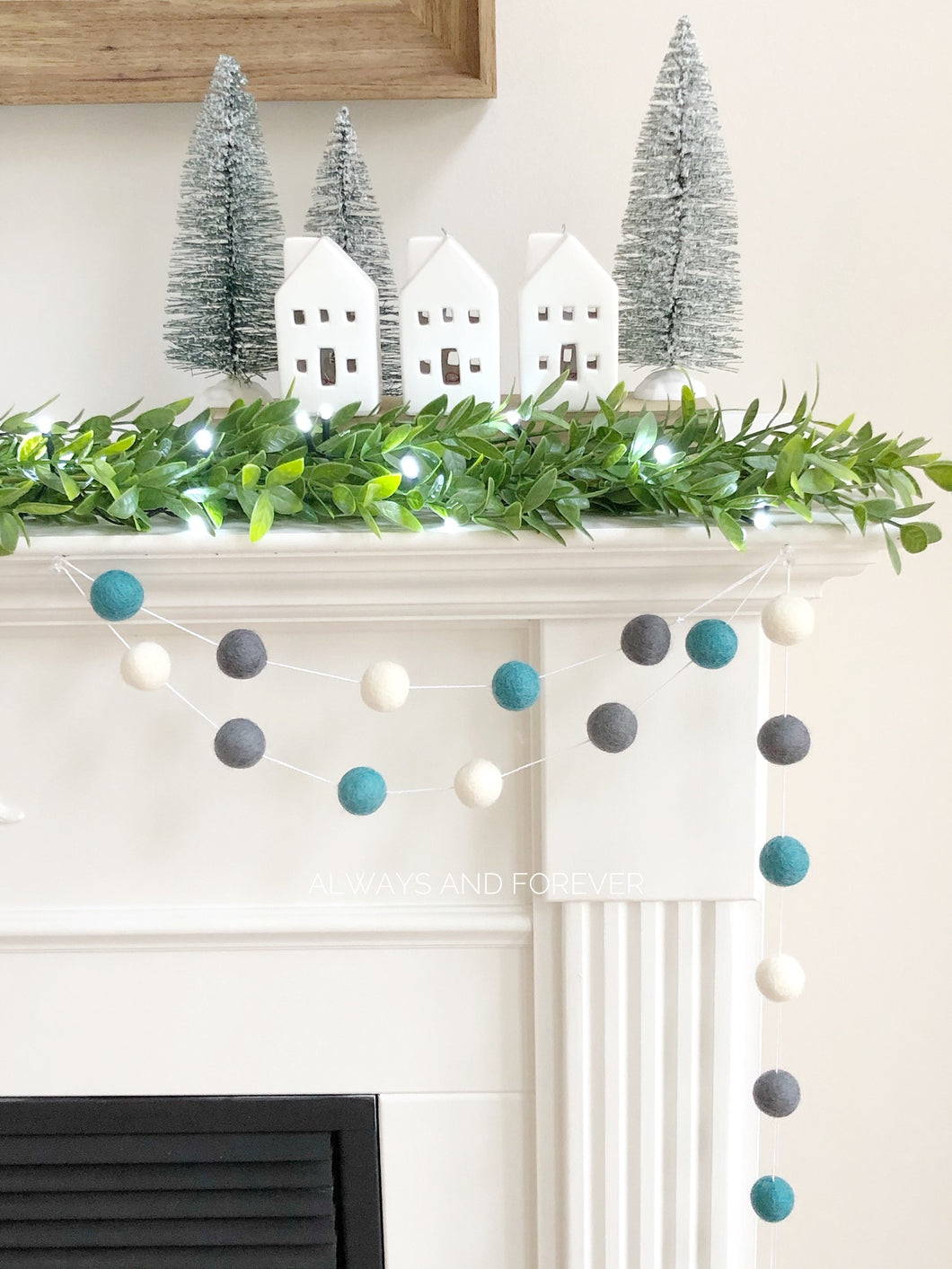 Holiday Garland - Teal/Grey/White