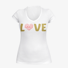 Load image into Gallery viewer, V neck white ladies  t shirt  with the word Lovw written on it.