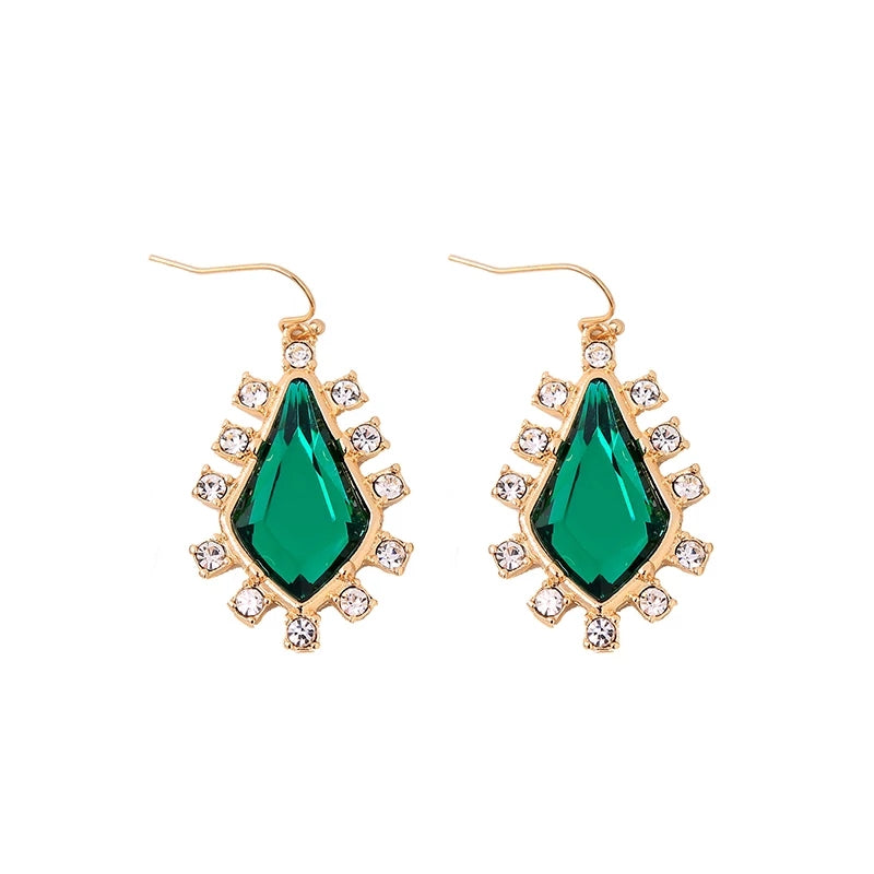 Emerald Green Faceted Rhinestone Crystal Gold Statement Hook Dangle Earrings