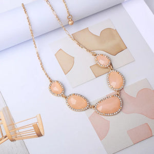 Peach Rhinestone Crystal Gold Statement Pendant Necklace