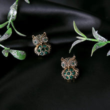 Load image into Gallery viewer, Emerald Green Crystal Owl Vintage Stud Earrings