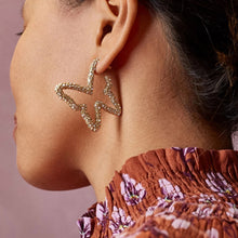 "Load image into Gallery viewer, ""Sophie"" Crystal Butterfly Gold Earrings"