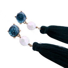 "Load image into Gallery viewer, ""Ada"" Blue White Tassel Statement Earrings"