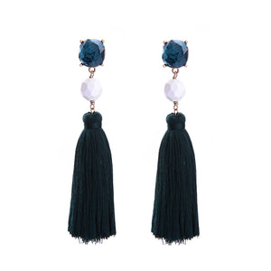 """Ada"" Blue White Tassel Statement Earrings"