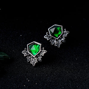 Emerald Green Rhinestone Crystal Leaf Vintage Silver Stud Earrings
