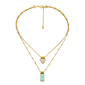 """Daphne"" Turquoise 3 & 1Versatile Layered Necklace"