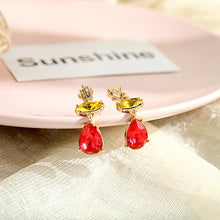 "Load image into Gallery viewer, ""Lady"" Ruby Red Rhinestone Dangle Earrings"