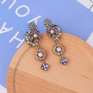 Pastel Floral Crystal Pearl Vintage Gold Drop Dangle Earrings