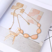 Load image into Gallery viewer, Peach Rhinestone Crystal Gold Statement Pendant Necklace