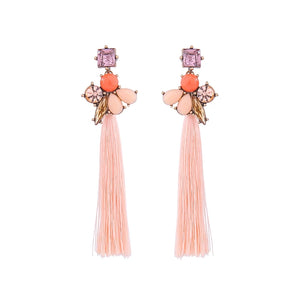 Floral Crystal Rhinestone Tassel Vintage Gold Dangle Earrings