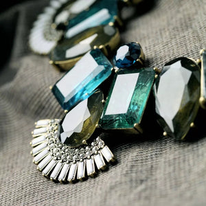 Deep Sea Blue Green Rhinestone Crystal Vintage Gold Statement Necklace